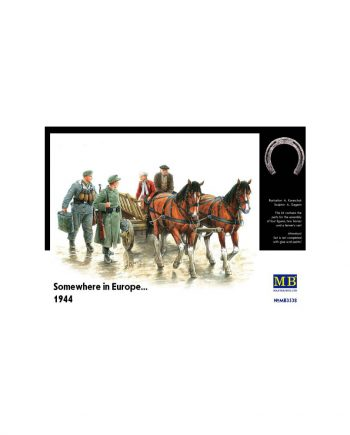 Contains a farmer's cart, two civilian people on the cart, two horses and two German soldiers.
